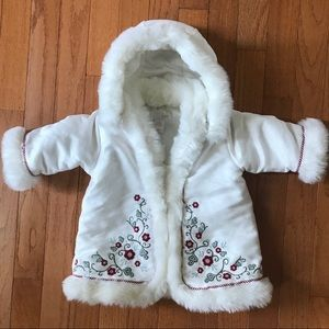 H&M baby girls floral white winter jacket SIZE 2-4